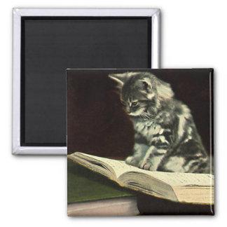 Vintagedjur, läs- bok för gullig Victoriankattunge Magnet