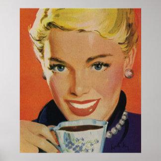 Vintagedrycker, lycklig kvinna med koppen av kaffe poster