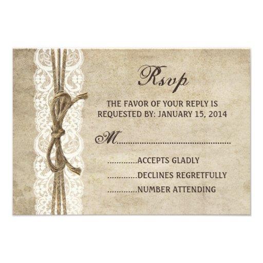 Vintageelegans tvinnar på snörebröllop OSAkort Tillkännagivanden