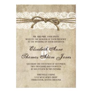Vintageelegans tvinnar på snörebröllopinbjudan