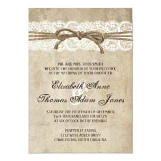 Vintageelegans tvinnar på snörebröllopinbjudan 12,7 x 17,8 cm inbjudningskort