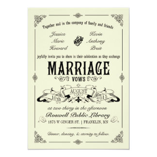 Vintageelegant bröllopinbjudan 12,7 x 17,8 cm inbjudningskort
