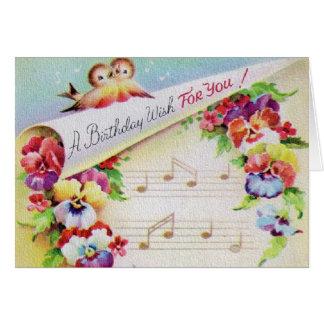 Vintagefågelblommor och musikfödelsedagkort hälsningskort
