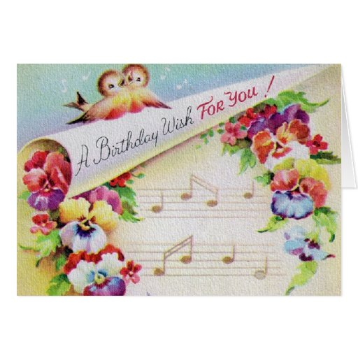 Vintagefågelblommor och musikfödelsedagkort hälsnings kort