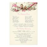 Vintagefågelrosan blommar bröllopsprogram