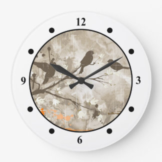 Vintagefåglar på en gren stor klocka