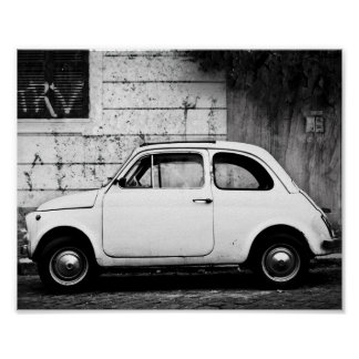 VintageFiat 500 affisch, i Rome, Italy. Poster
