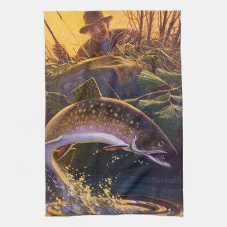 Vintagefisken, sportar som fiskar forellen, fångar kökshandduk