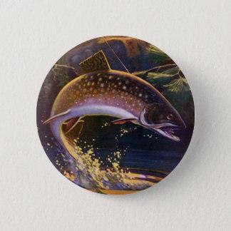 Vintagefisken, sportar som fiskar forellen, fångar standard knapp rund 5.7 cm