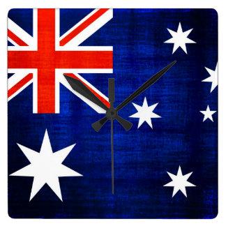 Vintageflagga Australien 2 Fyrkantig Klocka