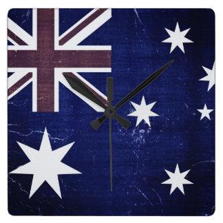Vintageflagga Australien 3 Fyrkantig Klocka