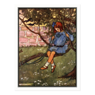 Vintageflicka i träd vid Florence Harrison Vykort