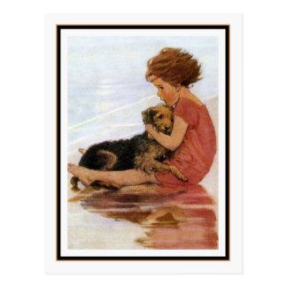 Vintageflicka och hund vid den Jessie Willcox smed Vykort