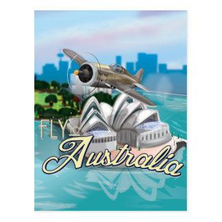 Vintageflugan till Australien reser affischen Vykort