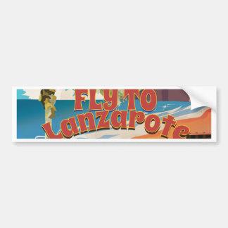 Vintageflugan till Lanzarote reser affischen Bildekal
