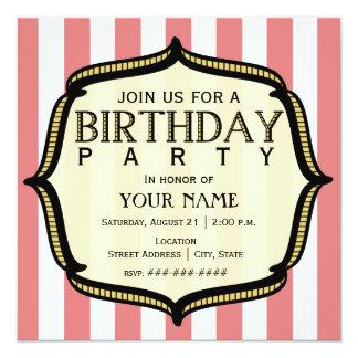 Vintagefödelsedagsfest inbjudan fyrkantigt 13,3 cm inbjudningskort