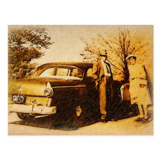 Vintagefoto - av att kyrktaga i söndag passar vykort