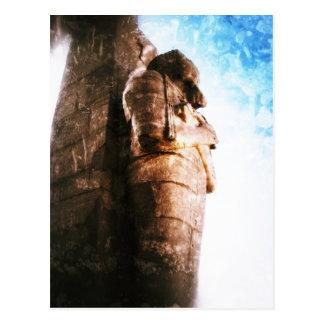 Vintagefoto av en staty i egypten vykort