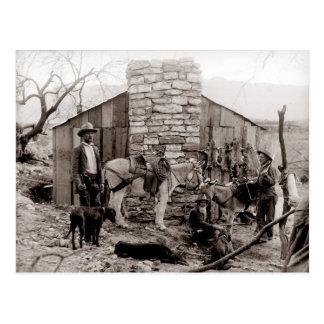 Vintagefoto av en Trapperskabin Vykort
