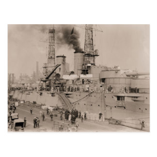 vintagefotoslagskepp USS NEW YORK som laddar 1914 Vykort