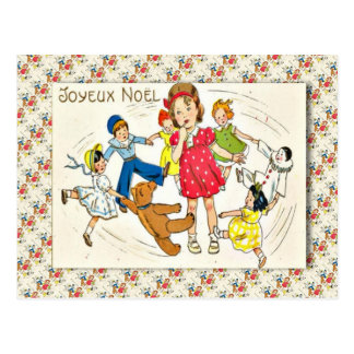 Vintagefrankriken, flicka med dansleksaker vykort