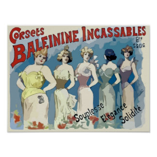 Vintagefransk korsetterar annonsen poster