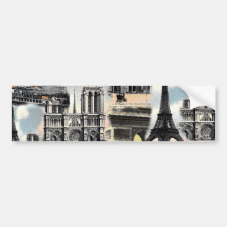 Vintagefransk Paris reser det CollageEiffel torn Bildekal
