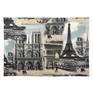 Vintagefransk Paris reser det CollageEiffel torn Bordstablett