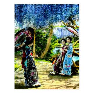 VintageGeisha i Wisteriaträdgården gammala Japan Vykort