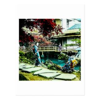 VintageGeisha på träd för lönn för Kusatsu Teahus Vykort