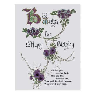 Vintagegrattis på födelsedagenvykort vykort