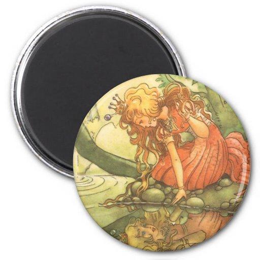 VintagegrodaPrince; Princess och henne reflexion Magneter