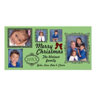 Vintagegrönt för 5 foto - julfotokort fotokort