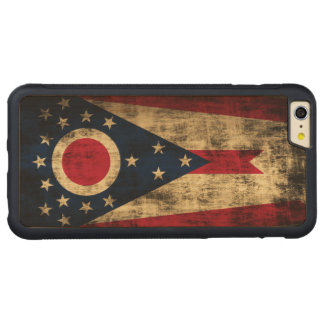 VintageGrungestatlig flagga av Ohio Carved Lönn iPhone 6 Plus Bumper Skal
