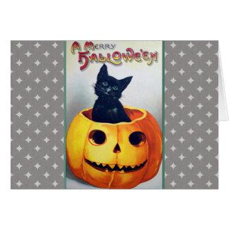 VintageHalloween katt och pumpa Hälsningskort