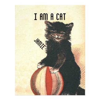 VintageHALLOWEEN svart katt Brevhuvud