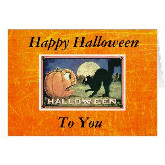 Vintagehappy halloweenpumpa med den svart katten hälsningskort