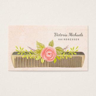 Vintagehårkam och ro för elegant frisör visitkort
