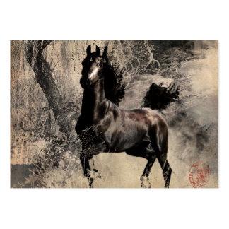 Vintagehäst - kinesisk målningkonst set av breda visitkort