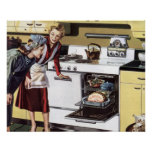 Vintagehemmiljö, mamma i kökmatlagningen posters