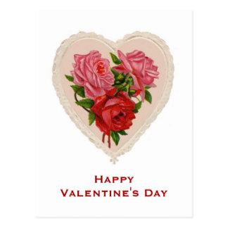 Vintagehjärta och rovalentin vykort för dag