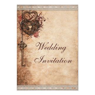 Vintagehjärtor låser och stämm bröllop 12,7 x 17,8 cm inbjudningskort