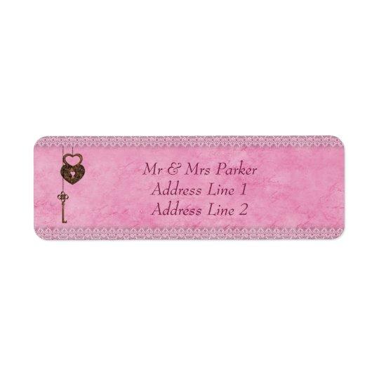 Vintagehjärtor låser och stämm rosapersonlig returadress etikett