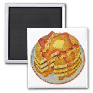 Vintagehötorgskonstbunt av pannkakor och bacon magnet