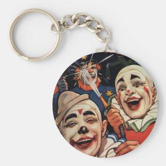 Vintagehumor och att skratta cirkusclowner och rund nyckelring