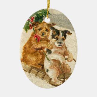 Vintagehundar på en Sledjulprydnad Julgransprydnad Keramik