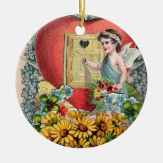 Vintageillustration av den bevingada julgransprydnad keramik