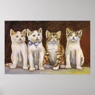 Vintageillustration för fyra gullig kattungar poster