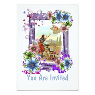Vintageillustration med blommor 12,7 x 17,8 cm inbjudningskort