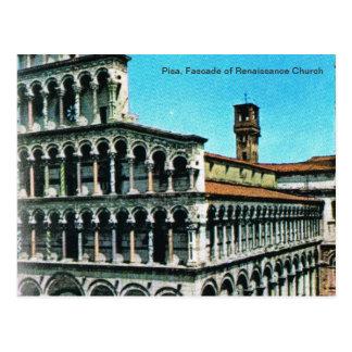 Vintageitalien, Pisa, Fascade av den Rennaisance Vykort